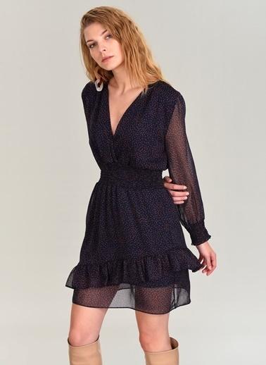 People By Fabrika Desenli Mini Elbise Lacivert